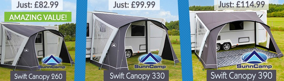 The SunnCamp range of Swift Canopies provide excellent all round protection from the elements