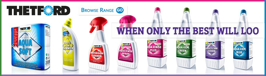 Full range of Thetford toilet chemicals and maintenance products - image of range line-up