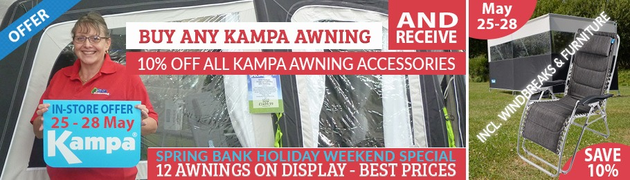 Buy any Kampa Awning in-store between 25-28 May and help yourself to 10% off Kampa Awning accessories