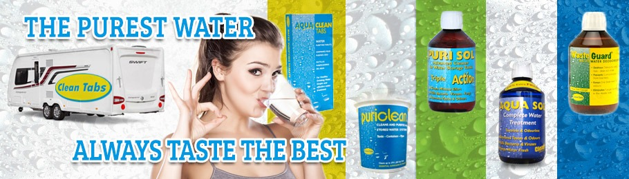 Girl drinking water with a selection of Clean Tabs products