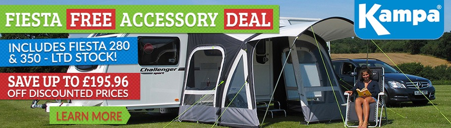 Read our Latest News article: Kampa Fiesta AIR Pro Caravan Awning FREE ACCESSORY Package Deals