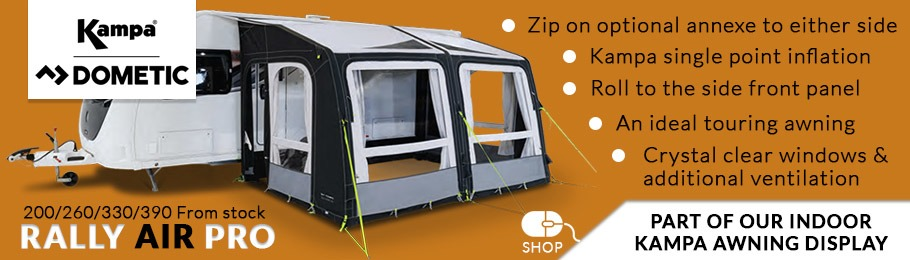 2020 Kampa Dometic Rally AIR Pro caravan awning range
