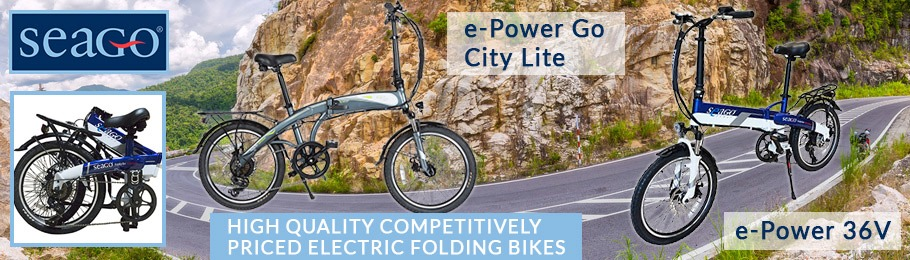 Seago electic folding bikes on scenic road