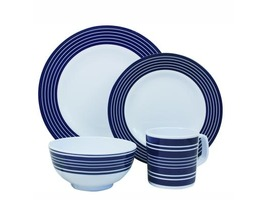 Flamefield Navy Pinstripe 16pcs Melamine Tableware Set