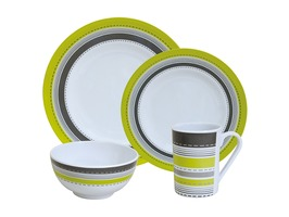 Flamefield Metro Lime 16pce Melamine Tableware Set