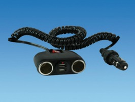 Double USB Cigarette Socket with Switch & 1m Extension Cable