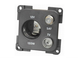 CBE 12V (Auto) + TV & Satellite Socket - Grey