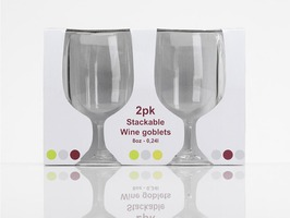 Flamefield Acrylic Stackable  Wine Goblets Pack 2