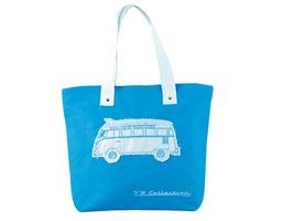 VW Campervan Blue Canvas Shopping Bag