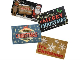 JVL Christmas PVC Backed Coir Mat 40 x 60cm