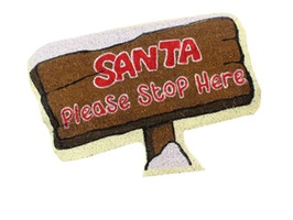 JVL Santa Please Stop Here Shaped PVC Coir Mat