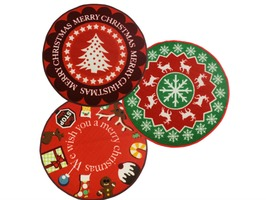JVL Christmas Tree 80cm Round Machine Wash Mat