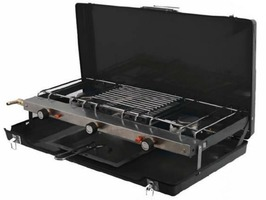 SunnCamp Foldaway Double Burner & Grill - Black