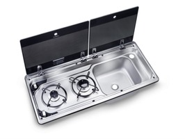 Dometic Smev MO 9722 2 Burner Gas Hob & Sink -  right hand sink