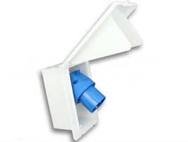 Rectangular Flush Fitting 230v Inlet White