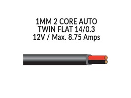 2 Core 1mm Flat 12V Cable 14/0.3mm - Red / Black