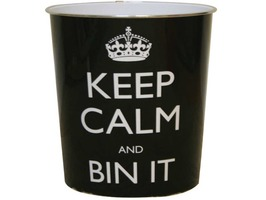 "JVL 9Ltr ""Keep Calm"" Waste Paper Bin"