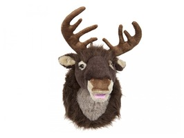 "16"" Plush Singing Reindeer Head Wall Decoration"
