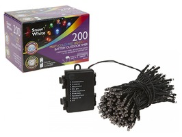 200 Multi Coloured LED Fairy Lights - Multi-Function