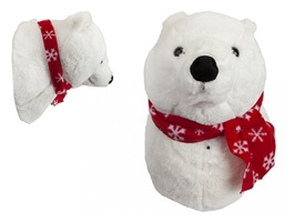 Plush Singing Polar Bear Head Wall Decoration