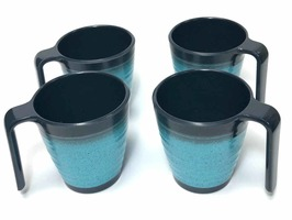 Granite Aqua Stackable Melamine Mug Set 4