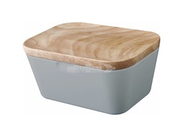 Brunner Melamine Butter Box Dish Grey with Bamboo Lid