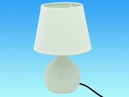 Ceramic Table Lamp Switched 240V - Cream
