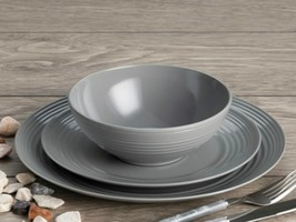 Flamefield Cool Grey 12pce Melamine Tableware Set Non-Slip