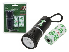 Crufts Walk LED Torch with Doggy Bag Holder & Spare Bags