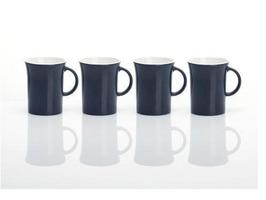 Flamefield Two Tone Fluted 4 Pack Melamine Mug Grey