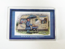 Armcher Caravan Themed Fridge Magnet - 'Caravanning In Summer'
