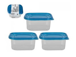 3PC Clear Oblong Plastic Reusable Food Containers