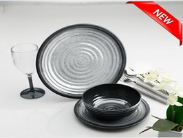 Flamefield Granite Grey Melamine Dinner Plate