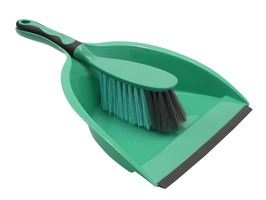 JVL Dust Pan & Brush with Rubber Grip Turquoise