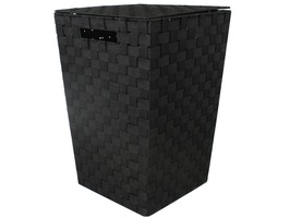 JVL Large Rectangular Laundry Basket Black