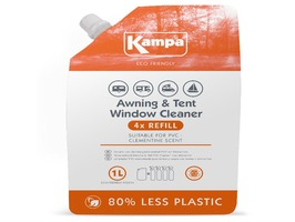 Kampa Tent Awning & Tent Window Cleaner 1 Litre Refill Pouch with Clementine Scent