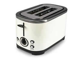 Kampa Deco Stainless Steel High Gloss Cream Electric 2-Slice Toaster