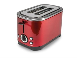 Kampa Deco Stainless Steel High Gloss Red Electric 2-Slice Toaster