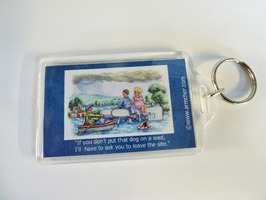 Motorhome themed Key Ring 'Flooded Site' - 75 x 50mm