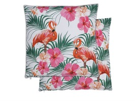 Flamingo/Palm Scatter Cushions Pair