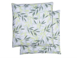 Green/Grey Leaf Print Scatter Cushions Pair