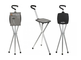 Summit Aluminium  Folding Stick Stool - Black